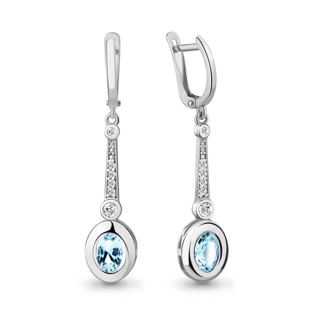Серьги из серебра с натуральным топазом Sky Blue и фианитом