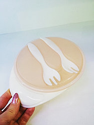 Детская тарелка с крышкой и двумя вилками