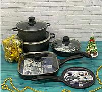 Каменный набор посуды от Vicalina с блинницей и грильницей