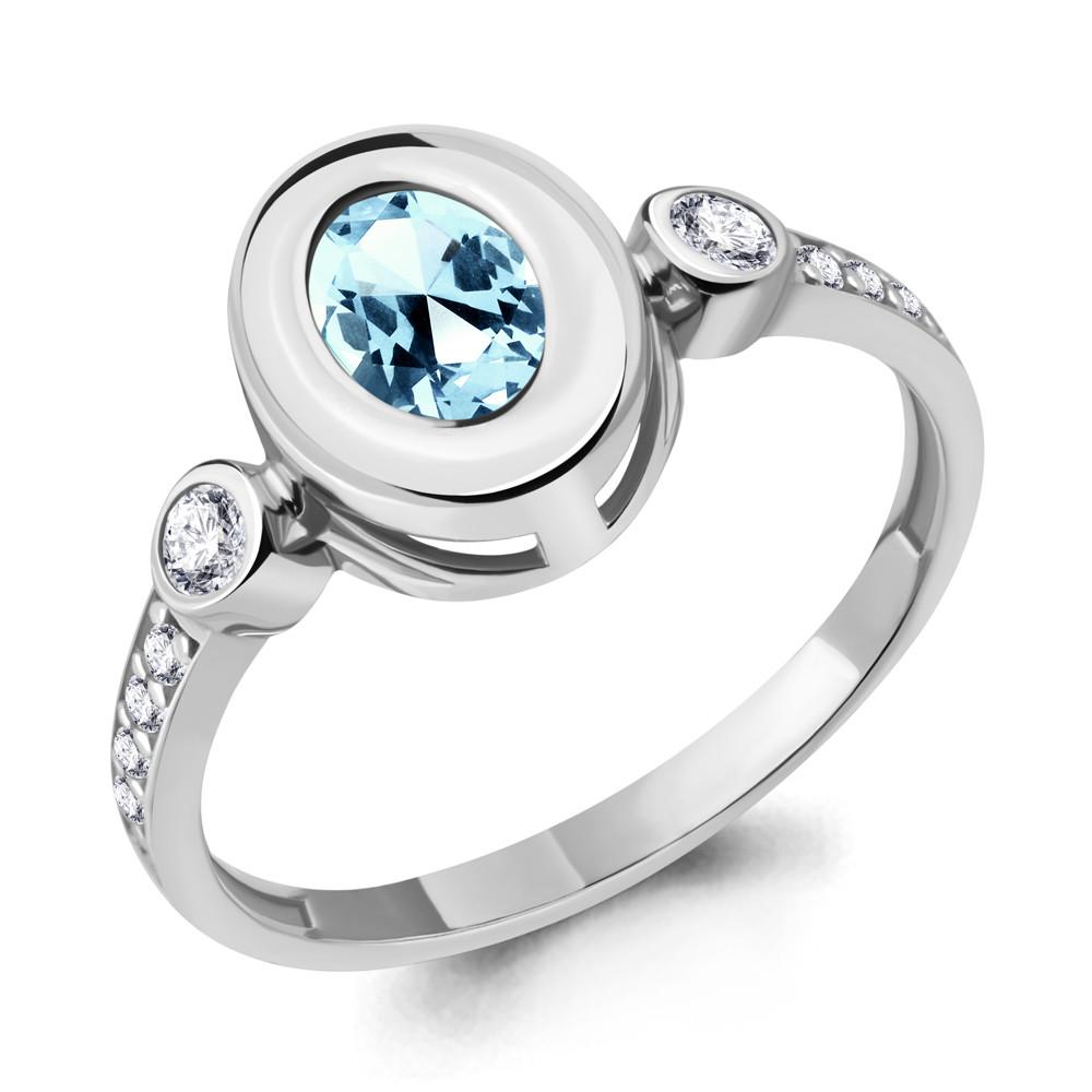 Кольцо из серебра с натуральным топазом Sky Blue и фианитом