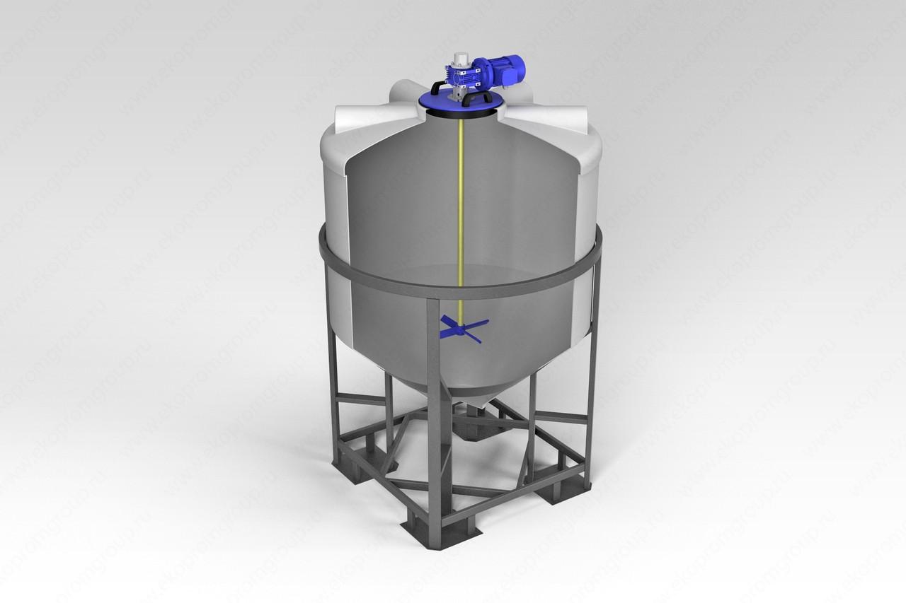 Емкость ФМ 1000 в обрешетке с лопастной мешалкой