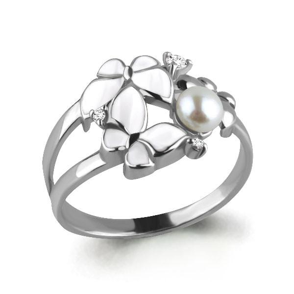 Кольцо из серебра с натуральным жемчугом культ. и фианитом