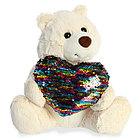 AURORA Игрушка мягкая Медведь Большое сердце крем. 30 см