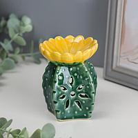 """Аромалампа керамика """"Кактус с цветком"""" 9,3х7,2х7,2 см"""