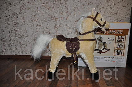 "Качалка-лошадка ""Pituso"", светло-бежевый c колесами"