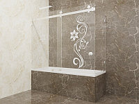 Стеклянная перегородка на ванну угловая с рисунком КС-170КЦ