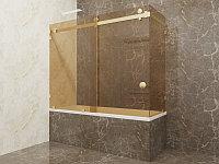 Стеклянная перегородка на ванну угловая бронза КС-170КЦ