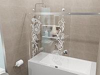 Стеклянная перегородка на ванну прямая с рисунком КС-170КЦ