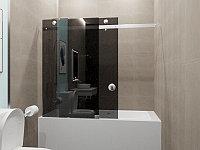 Стеклянная перегородка на ванну прямая графит КС-170КЦ