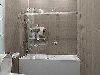 Стеклянная перегородка на ванну прямая прозрачная КС-170КЦ