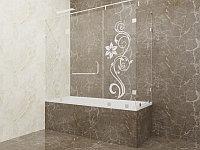 Стеклянная перегородка на ванну угловая с рисунком КС-170РЦ