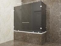 Стеклянная перегородка на ванну угловая графит КС-170РЦ
