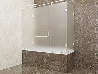 Стеклянная перегородка на ванну угловая матовая КС-170РЦ
