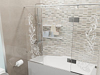 Стеклянная перегородка на ванну прямая с рисунком КС-170РЦ