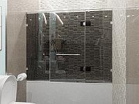 Стеклянная перегородка на ванну прямая графит КС-170РЦ
