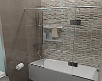 Стеклянная перегородка на ванну прямая прозрачная КС-170РЦ