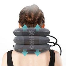 Ортопедическая подушка-корсет тройная надувная для шеи от остеохондроза, фото 3