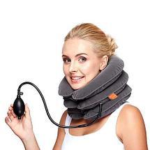 Ортопедическая подушка-корсет тройная надувная для шеи от остеохондроза, фото 2