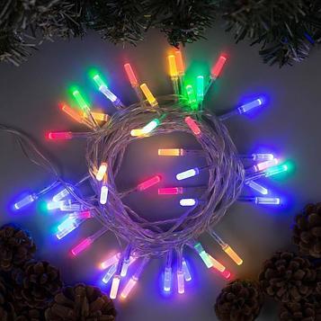 """Гирлянда """"Нить"""" 5 м с насадками """"Звёздочки"""", IP20, прозрачная нить, 50 LED, свечение мульти, 8 режимов, 220 В"""