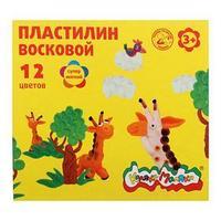 Пластилин мягкий (восковой) 12 цветов 180 г 'Каляка-Маляка', со стеком