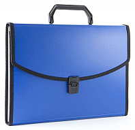Папка-портфель БЮРОКРАТ, с окантовкой 13 отделений, синяя