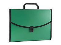 Папка-портфель БЮРОКРАТ, с окантовкой 13 отделений, зеленая