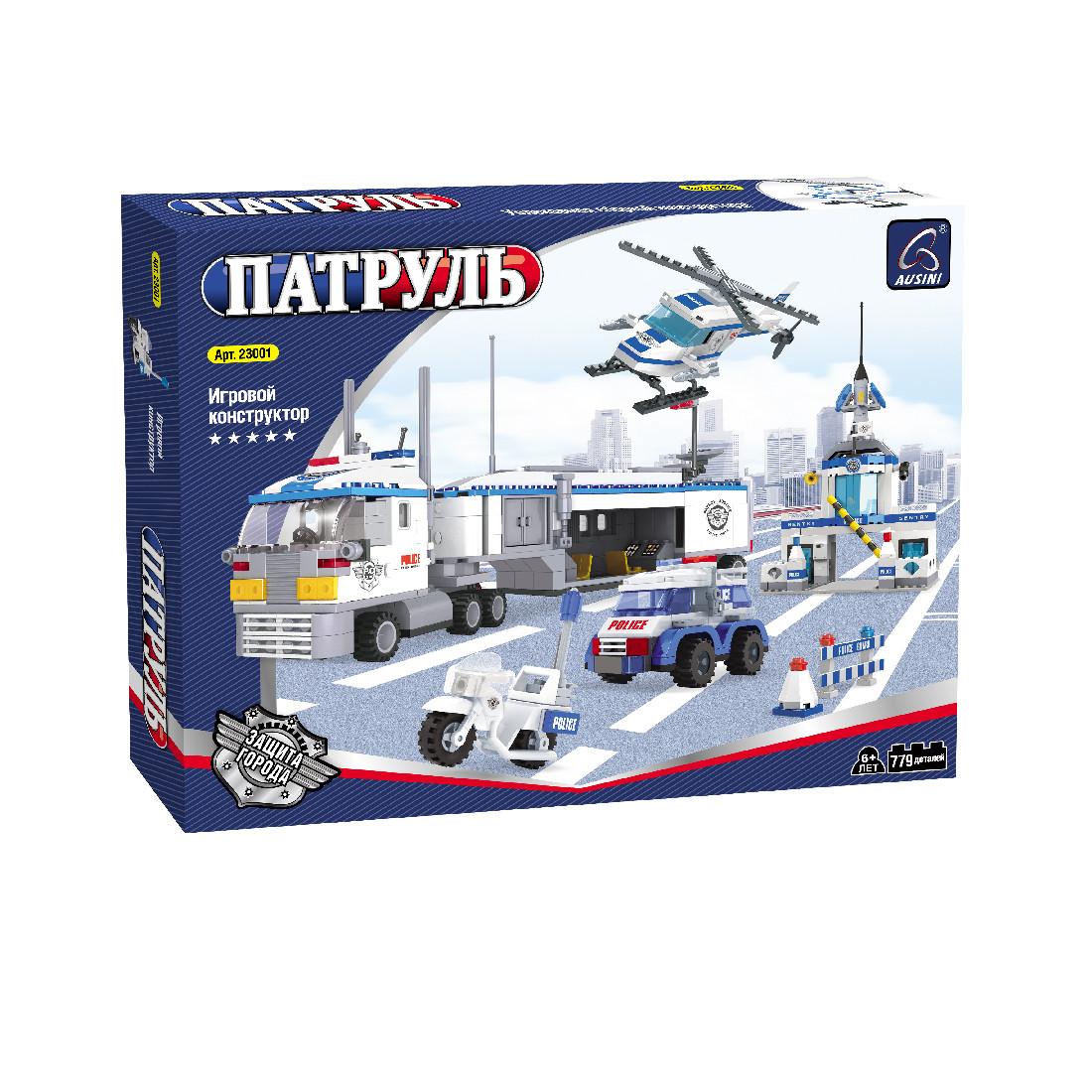 Игровой конструктор Ausini 23001 Патруль Большой мобильный штаб полиции 779 деталей Цветная коробка