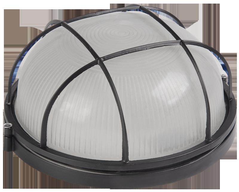 Светильник НПП 1102 черный круглый с  решеткой 100Вт IP54
