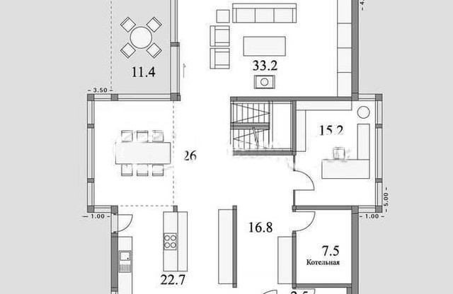 Проект  деревянного дома из бруса с мансардой, план двухэтажного дома и строительство под ключ, проекты и фото деревянных домов.