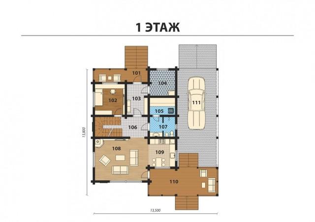 Проект  деревянного дома из бруса с терасой, план двухэтажного дома и строительство под ключ, проекты и фото деревянных домов.
