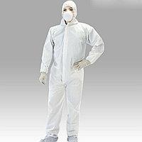 Противочумный костюм в комплекте (бахилы высокие на нескользящей подошве, перчатки, очки, респиратор)