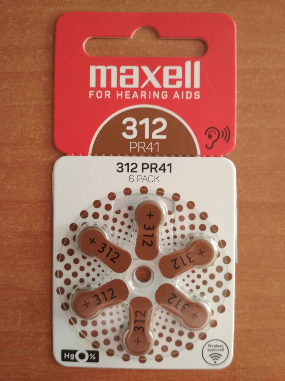 Батарейки  слуховые  MAXELL PR41 (312) 6BS ZINC AIR