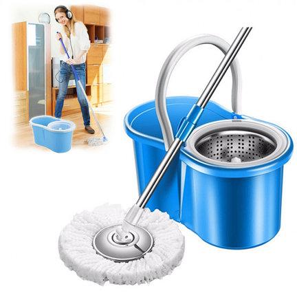 Швабра и ведро с отжимом и полосканием Easy Mop (металлическая центрифуга), фото 2