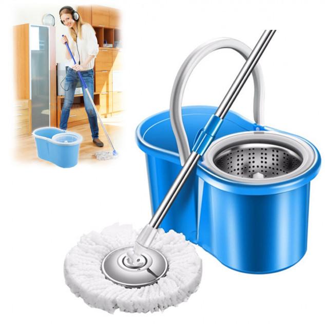 Швабра и ведро с отжимом и полосканием Easy Mop (металлическая центрифуга) - фото 1