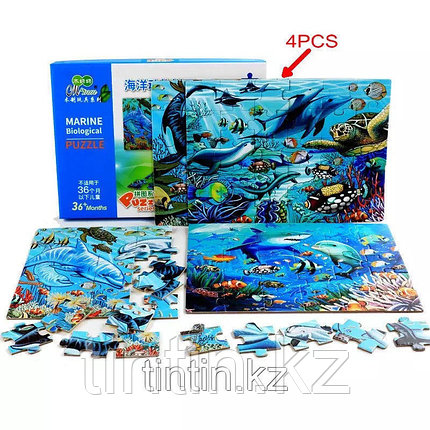 Набор из 4 двусторонних  пазлов - Морские обитатели, 29,5 х 21,5 см, фото 2
