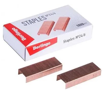 Скобы BERLINGO для степлера №24/6, медные, 1000 шт/кор