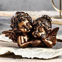 "Статуэтка ""Ангелы пара с алмазом"", бронзовая, 8 см"