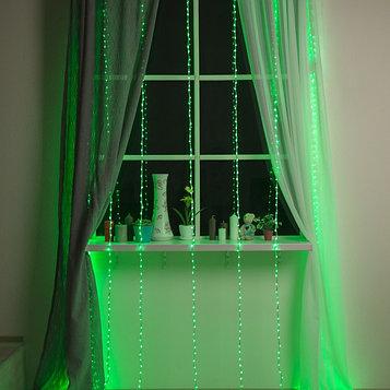"""Гирлянда """"Водопад"""" 2 х 3 м , IP20, прозрачная нить, 800 LED, свечение зелёное, 8 режимов, 220 В"""