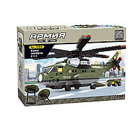 Игровой конструктор Ausini 22606 Армия Военный транспортный вертолет 452 детали Цветная коробка
