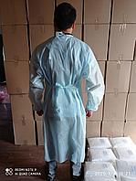 Халат одноразовый нестерильный, плотность 28 цвет голубой,белый