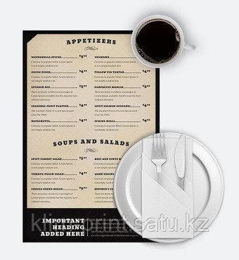 Изготовление меню на бумаге Сирио для кафе а3 формат