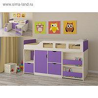 Детская кровать-чердак «Астра 8», цвет дуб молочный/фиолетовый