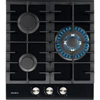 Варочная поверхность AVEX HM 4534 B, газовая, 3 конфорки, 43х48 см, газ-контроль, чёрная