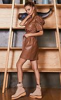 Платье коричневое из экокожи S
