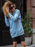 Толстовка голубая с вышивкой