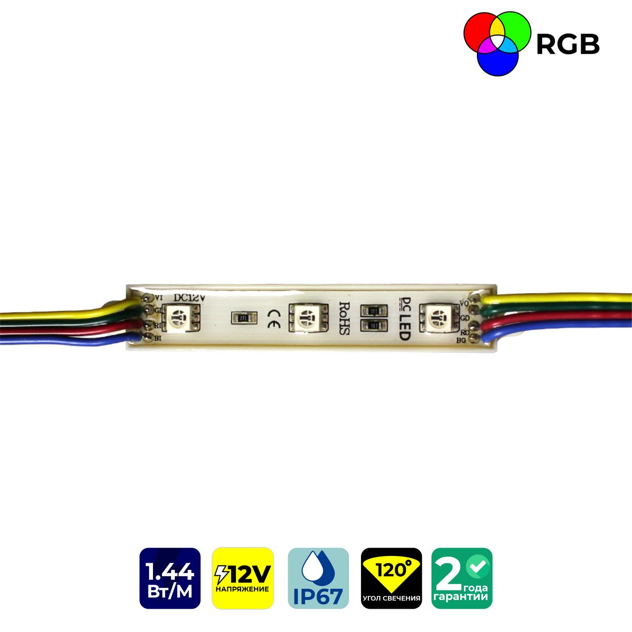 Светодиодные модули FT1275RGB3SMD5050 (IP67) 1,44W