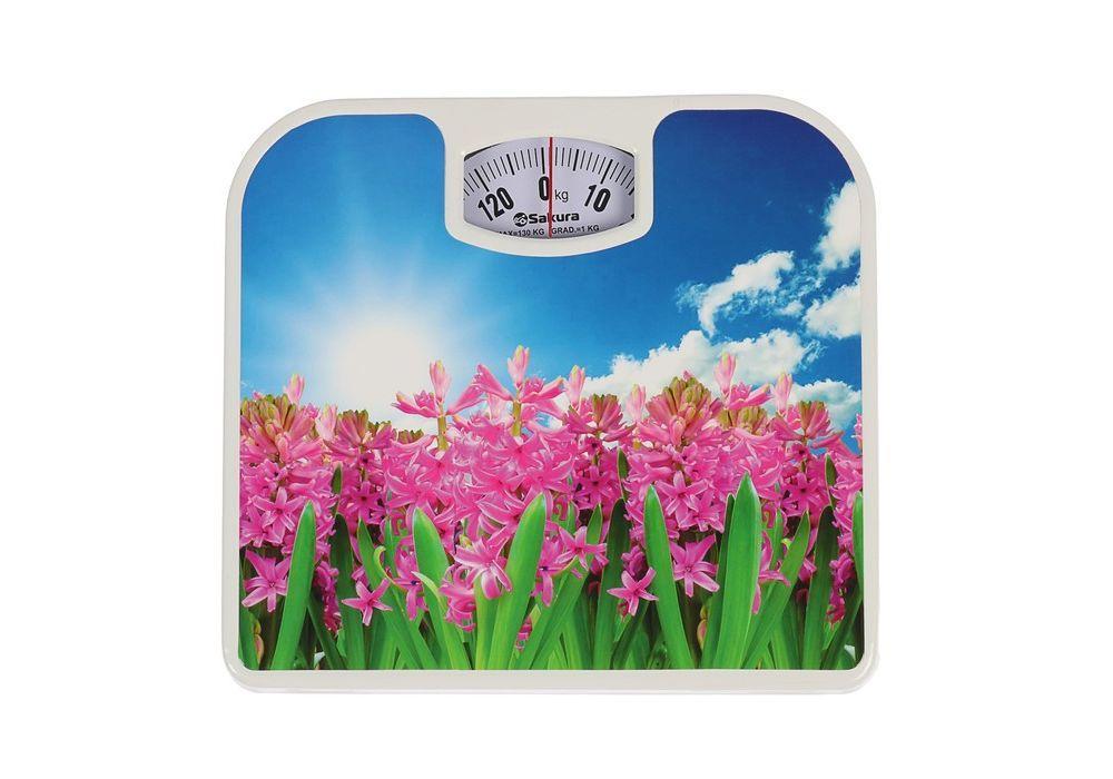 Весы напольн Sakura SA-5000-7 130кг мех геацинты