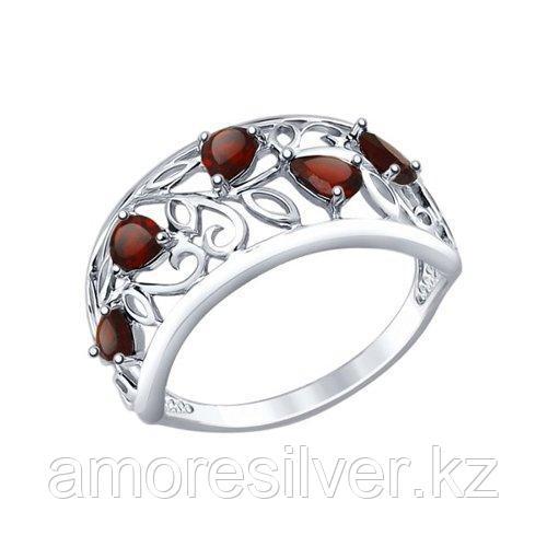 Кольцо SOKOLOV серебро с родием, гранат 92011376