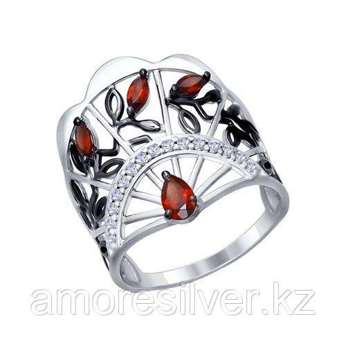Кольцо из серебра с гранатами и фианитами    SOKOLOV 92011277