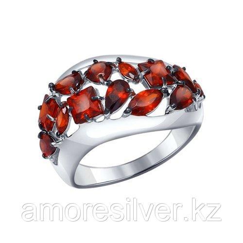 Кольцо SOKOLOV серебро с родием, гранат, многокаменка 92011122